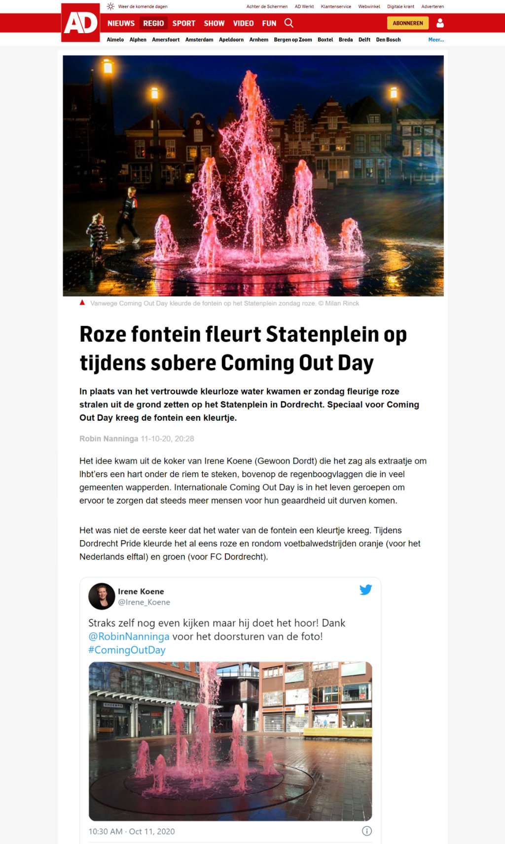 roze fontein statenplein coming-outdag